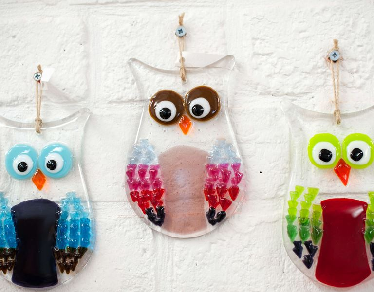 decorative glass owls at red house glass cone